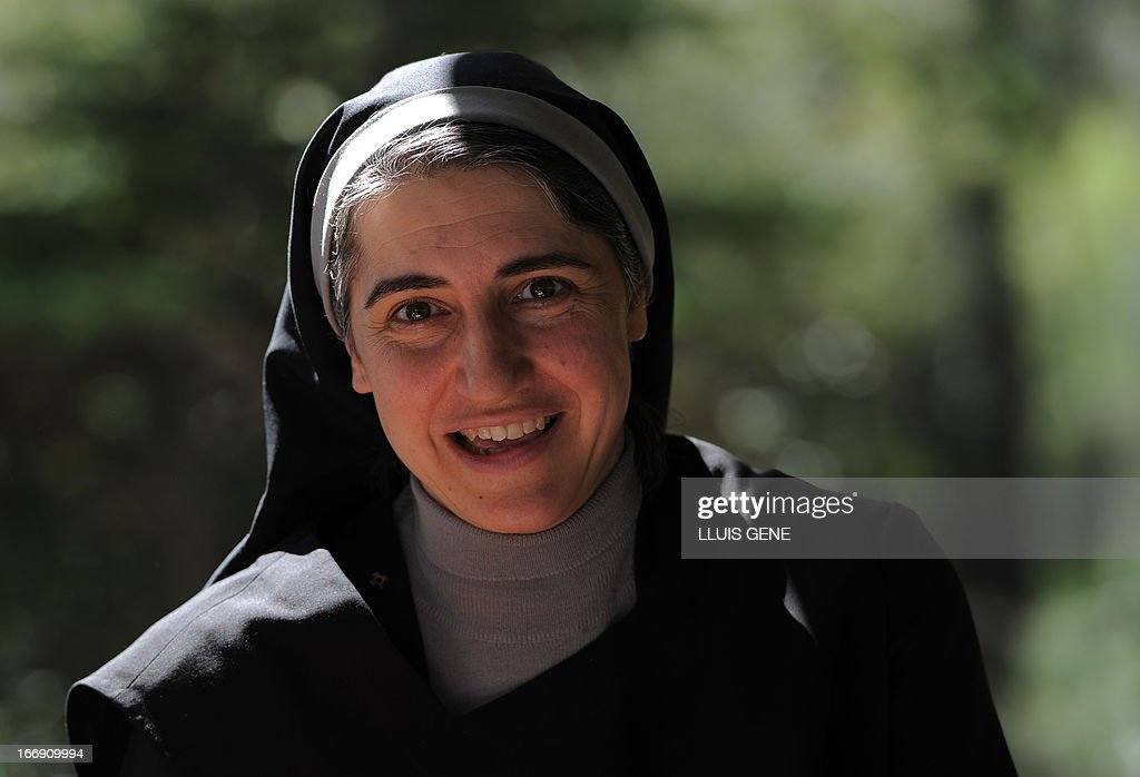 Spanish Benedictine nun Teresa Forcades speaks during an interview with AFP at the Monasterio de St. Benet in Montserrat on April 17, 2013. Forcades studied medecine, theology and religious matters. From her small convent in the mountains near Barcelona, Sister Teresa Forcades, a Harvard-educated Catalan nun, has emerged as a leading advocate of the arguments of Spain's 'indignant' protest movement against the excesses of capitalism. Decked in a black habit, Forcades criticised the austerity measures, which include cuts to spending on health care and education, which Spain's conservative government has put in pace to rein in the public deficit during an interview with AFP.