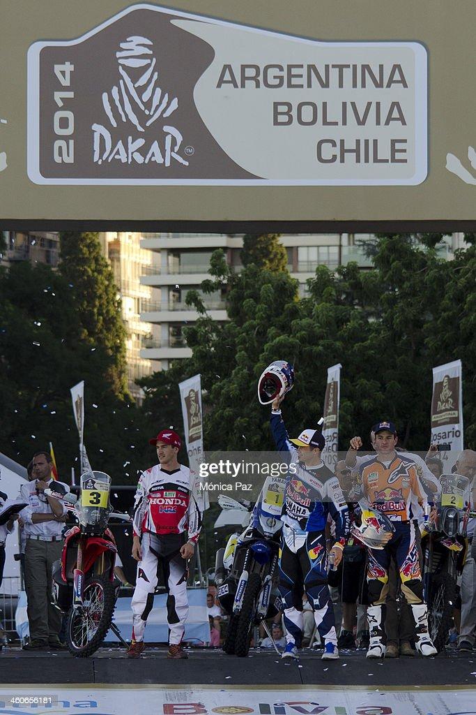 Spanish biker Juan Barreda French biker Cyril Despres and Spanish biker Marc Coma during the Symbolic Start of the Rally Dakar 2014 at the Flag...