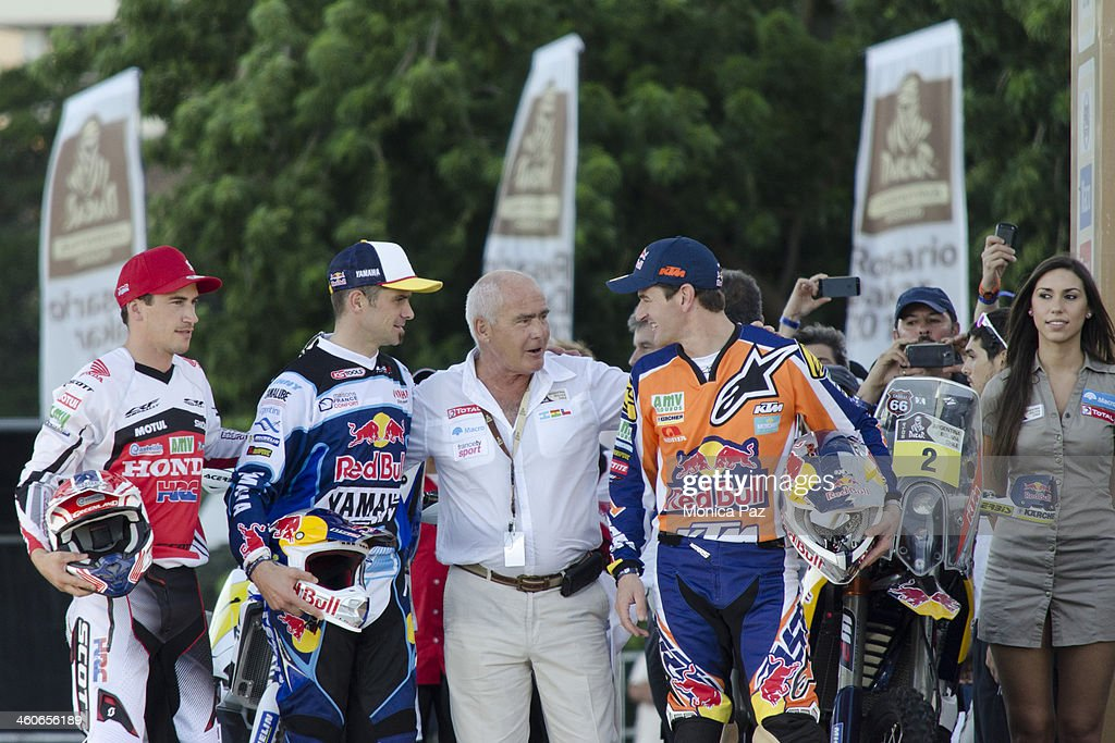 Spanish biker Juan Barreda french Cyril Despres Argentinian Minster of Tourism Enrique Meyer and Spanish Marc Coma talk during the Symbolic Start of...