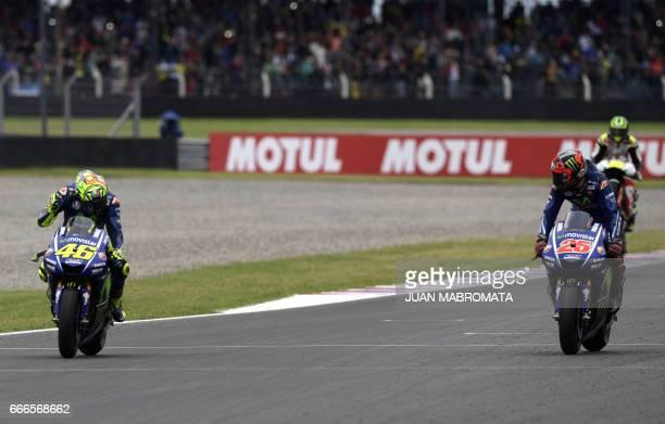 Spanish biker Maverick Vinales on Yamaha wins the MotoGP race of the Argentina Grand Prix at Termas de Rio Hondo circuit in Santiago del Estero...