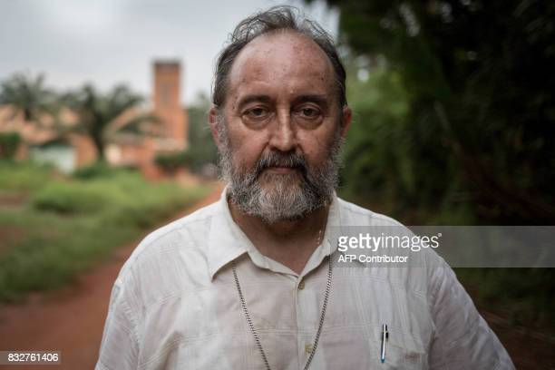 Spanish Bishop Juan Jose Aguirre Munoz of Bangassou poses for a picture in front of his church in Bangassou southeast Central African Republic poses...