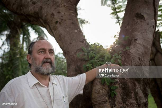Spanish Bishop Juan Jose Aguirre Munoz of Bangassou poses for a picture in Bangassou southeast Central African Republic poses on August 12 2017 The...