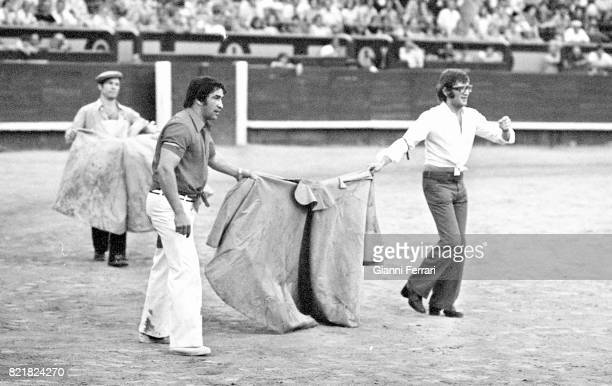 Spanish boxer Jose Manuel Urtain bullfighting in a bullring Madrid Spain