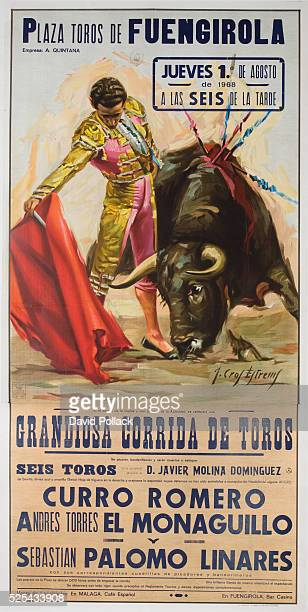 Spanish Bullfight poster showing matador with red cape Six bulls featured fighters include Curro Romero El Monaguillo Palomo Linares