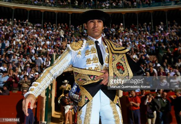 Spanish bullfighter Cayetano Rivera looks on before a bullfight at the Plaza Valencia bullring on March 18 2011 in Valencia Spain