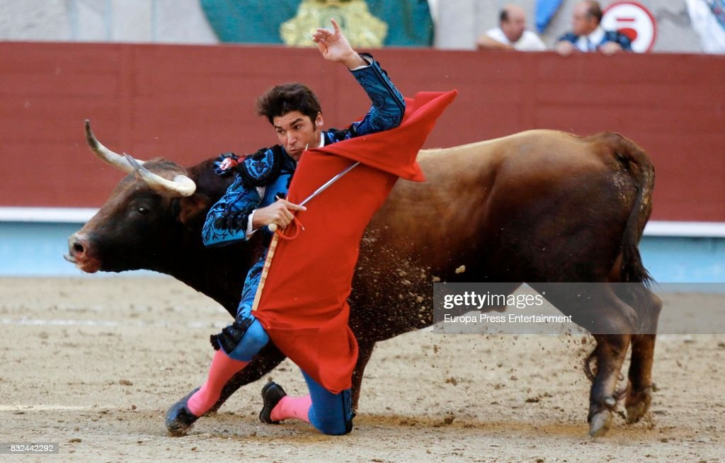 Spanish bullfighter Cayetano Rivera performs during a bullfighting as part of the La Peregrina Festival at Plaza de Pontevedra bullring on August 12, 2017 in Pontevedra, Spain.