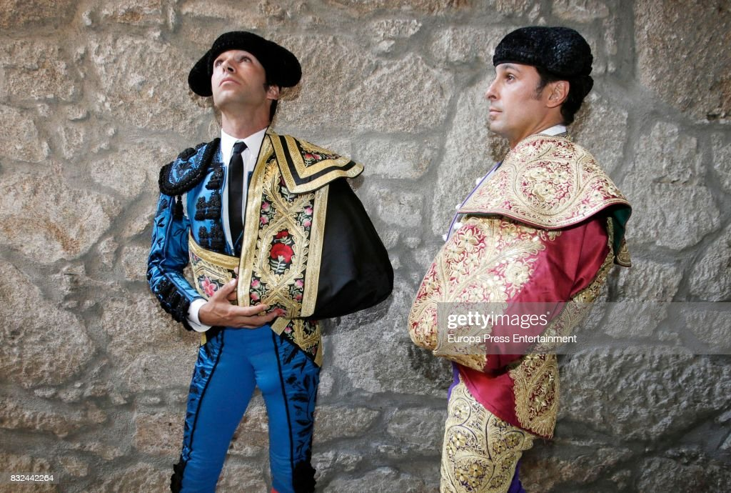 Spanish bullfighter Francisco Rivera (R) and his brother Cayetano Rivera (L) perform during a bullfighting as part of the La Peregrina Festival at Plaza de Pontevedra bullring on August 12, 2017 in Pontevedra, Spain.
