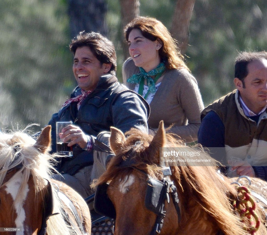 Spanish bullfighter Francisco Rivera and his girlfriend Lourdes Montes are seen in El Rocio Romeria, a traditional Spanish pilgrimage, on January 27, 2013 in Huelva, Spain.