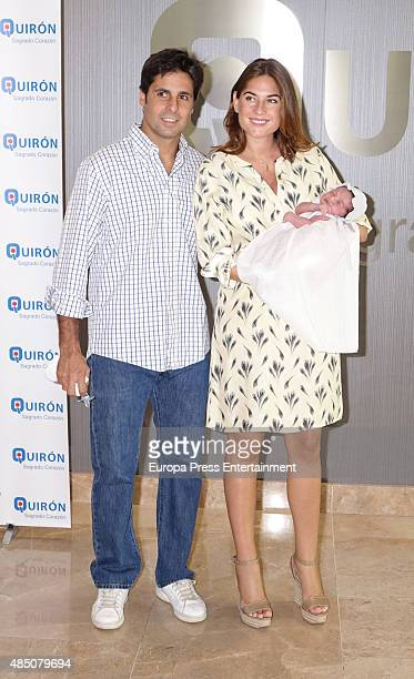 Spanish bullfighter Francisco Rivera and his wife Lourdes Montes present their newborn child Carmen Rivera at Quiron Sagrado Corazon hospital on...