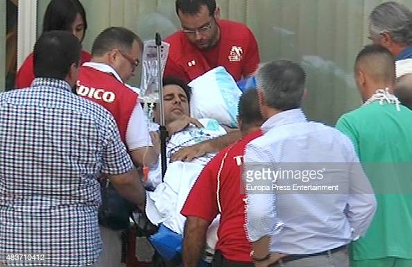 Spanish bullfighter Francisco rivera is seen arriving at Zaragoza Hospital after being gored by a bull on August 11 2015 in Zaragoza Spain