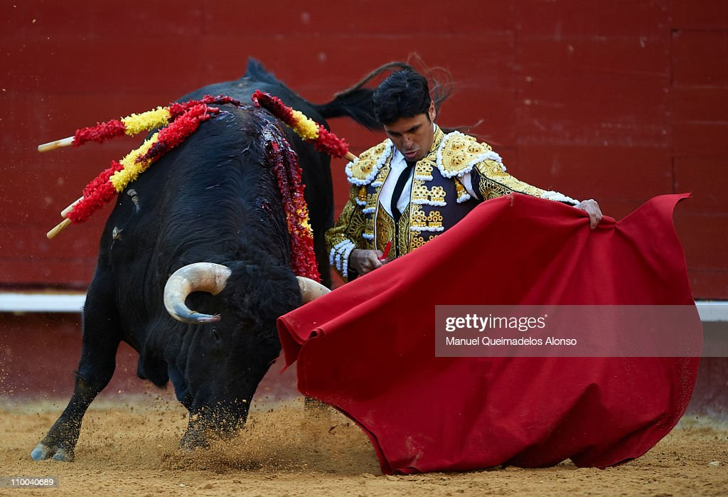 Spanish bullfighter Francisco Rivera performs during a bullfight at the Plaza Valencia bullring on March 13 2011 in Valencia Spain