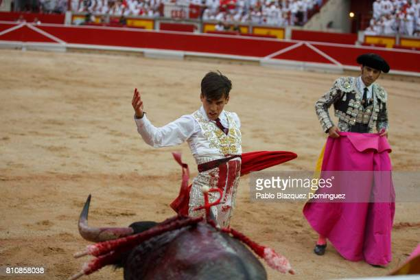 Spanish bullfighter Gonzalo Caballero perfoms with a bull from Jose Escolar Gil's fighting bulls after he was tossed to the ground during a bullfight...
