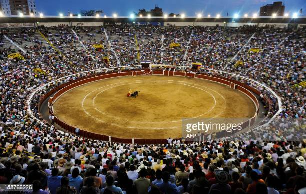 Spanish bullfighter Ivan Fandino performs a cape pass during a bullfight at the Canaveralejo bullring in Cali department of Valle del Cauca Colombia...
