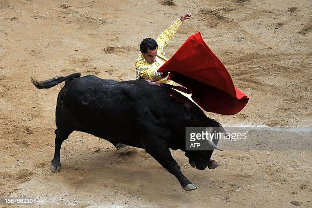 Spanish bullfighter Ivan Fandino performs a muleta pass during a bullfight at the Canaveralejo bullring in Cali department of Valle del Cauca...