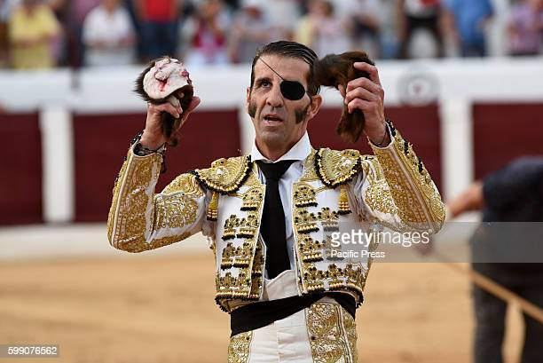 TOROS ALMAZáN SORIA SPAIN Spanish bullfighter Juan Jóse Padilla 43 yearsold celebrates during a bullfight at the La Bajada de Jesús festival in...