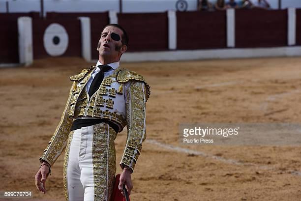 TOROS ALMAZáN SORIA SPAIN Spanish bullfighter Juan Jóse Padilla 43 yearsold gestures during a bullfight at the La Bajada de Jesús festival in Almazán...