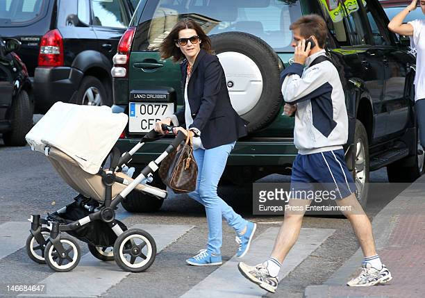 Spanish bullfighter Julian Lopez 'El Juli' his wife Rosario Domecq and twins Fernando and Rosario are seen on June 11 2012 in Madrid Spain