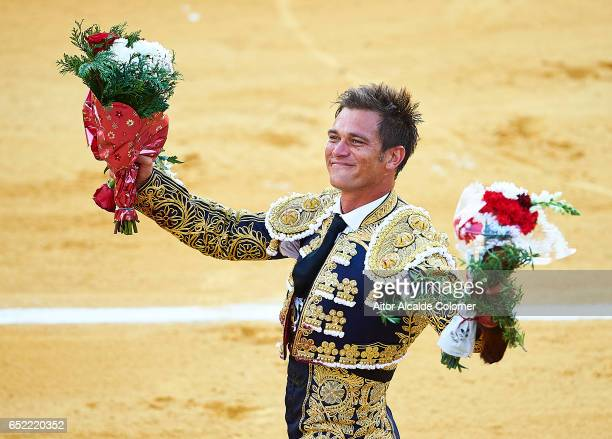Spanish bullfighter Julio Benitez celebrates during the Bullfight between Julio Benitez and Manuel Diaz 'El Cordobes' on March 11 2017 in Moron de la...