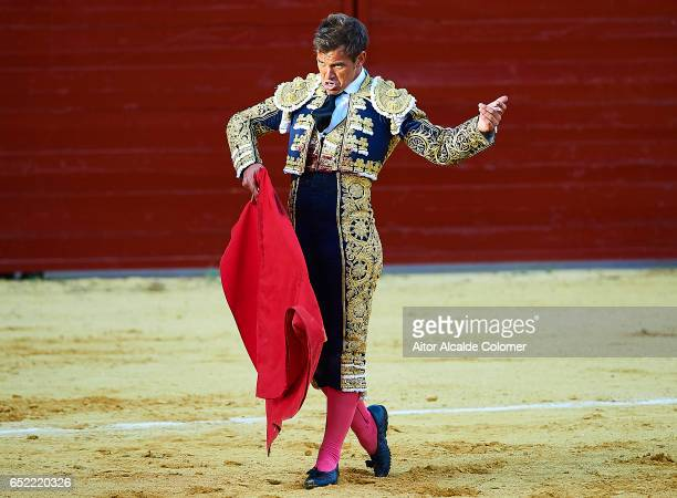 Spanish bullfighter Julio Benitez in action during the Bullfight between Julio Benitez and Manuel Diaz 'El Cordobes' on March 11 2017 in Moron de la...