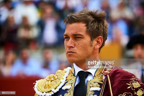 Spanish bullfighter Julio Benitez looks on during the Bullfight between Julio Benitez and Manuel Diaz 'El Cordobes' on March 11 2017 in Moron de la...
