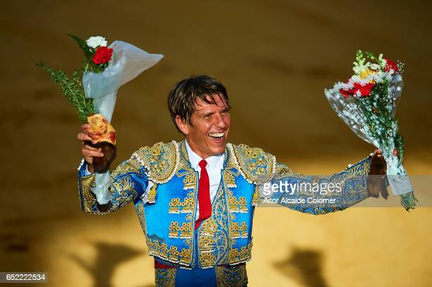 Spanish bullfighter Manuel Diaz 'El Cordobes' celebrates during the Bullfight between Julio Benitez and Manuel Diaz 'El Cordobes' on March 11 2017 in...