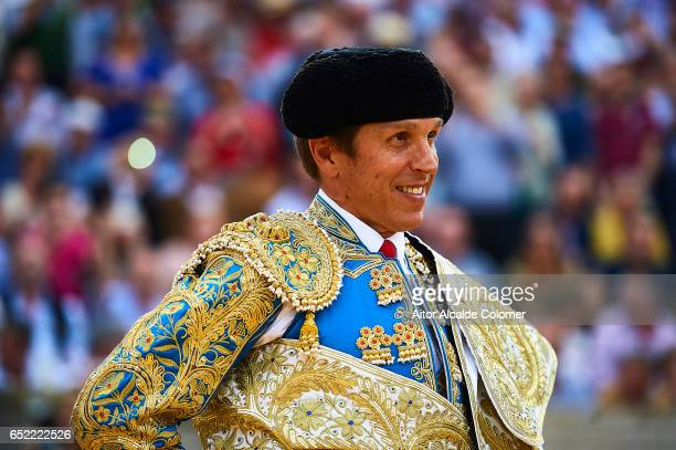 Spanish bullfighter Manuel Diaz 'El Cordobes' looks on on March 11 2017 in Moron de la Frontera Spain
