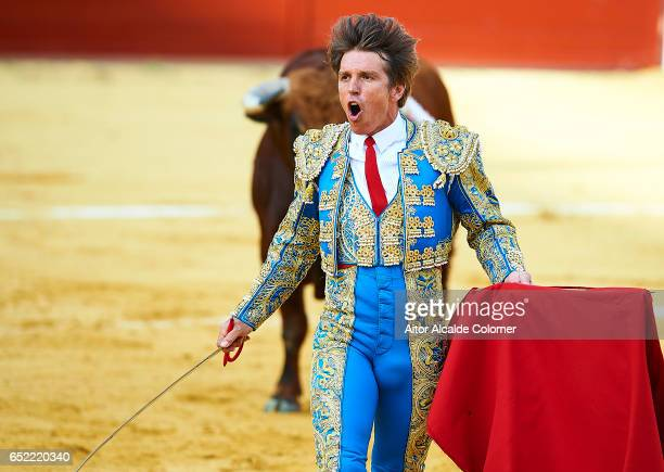 Spanish bullfighter Manuel Diaz 'El Cordobes' reacts during the Bullfight between Julio Benitez and Manuel Diaz 'El Cordobes' on March 11 2017 in...