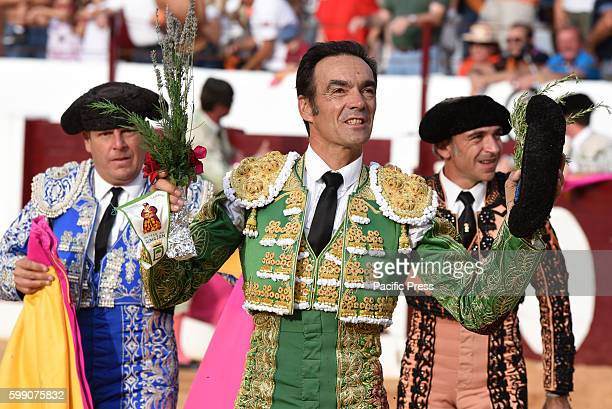 TOROS ALMAZáN SORIA SPAIN Spanish bullfighter Manuel Jesús Cid 42 yearsold celebrates during a bullfight at the La Bajada de Jesús festival in...