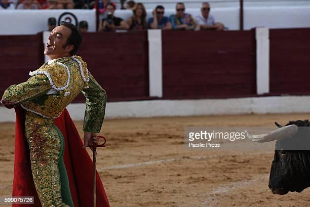 TOROS ALMAZáN SORIA SPAIN Spanish bullfighter Manuel Jesús Cid 42 yearsold gestures during a bullfight at the La Bajada de Jesús festival in Almazán...