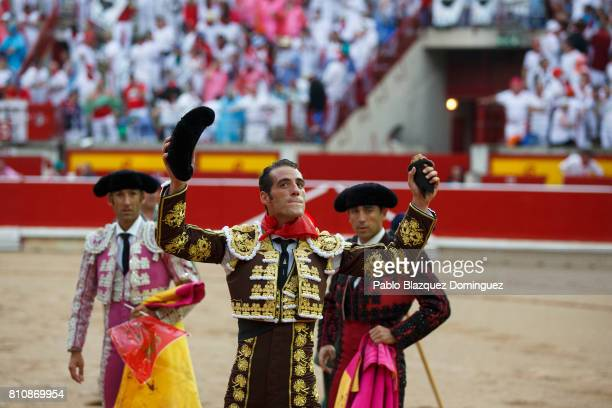 Spanish bullfighter Pepe Moral celebrates after he won a bull's ear for his performance with Jose Escolar Gil's fighting bulls during a bullfight on...