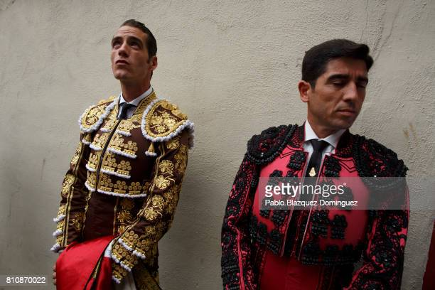 Spanish bullfighter Pepe Moral looks on as he prepares to perform at a bullfight with Jose Escolar Gil's fighting bulls on the third day of the San...