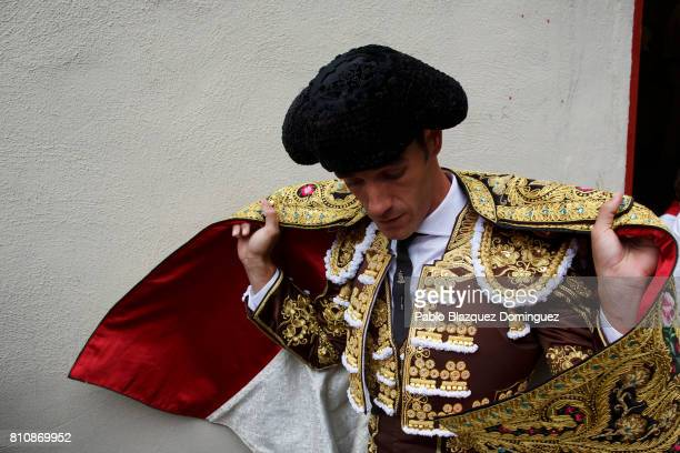 Spanish bullfighter Pepe Moral prepares to perform at a bullfight with Jose Escolar Gil's fighting bulls on the third day of the San Fermin Running...