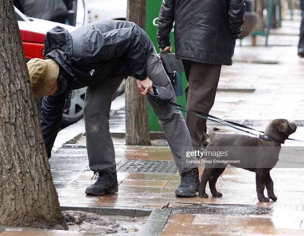 Spanish bullfighter Sebastian Palomo Danko is seen going for a walk with his pet dog on January 30, 2013 in Madrid, Spain.