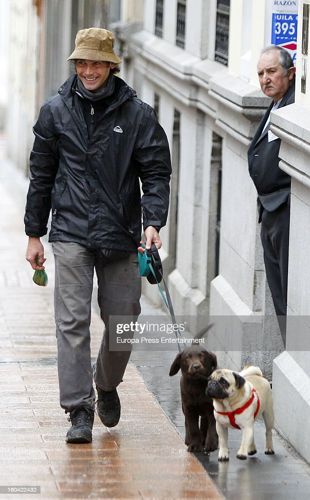 Spanish bullfighter Sebastian Palomo Danko is seen going for a walk with his pet dog on January 30, 2013 in Madrid, Spain.