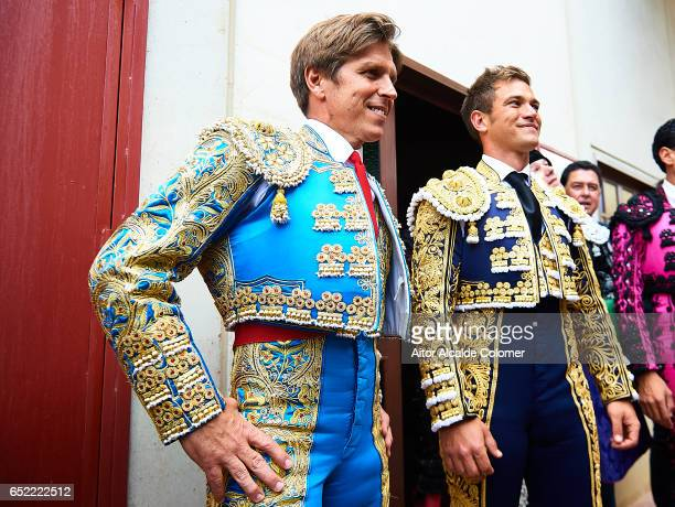 Spanish bullfighters Manuel Diaz 'El Cordobes' and Julio Benitez and looks on prior to the Bullfight between Julio Benitez and Manuel Diaz 'El...