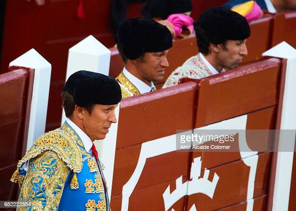 Spanish bullfighters Manuel Diaz 'El Cordobes' and Julio Benitez and looks on during the Bullfight between Julio Benitez and Manuel Diaz 'El...