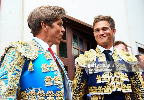 Spanish bullfighters Manuel Diaz 'El Cordobes' and Julio Benitez looks on prior to the Bullfight between Julio Benitez and Manuel Diaz 'El Cordobes'...