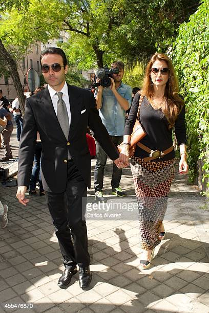 Spanish bullfigther Enrique Ponce and his wife Paloma Cuevas attend the memorial service for Spanish businessman and President of 'El Corte Ingles'...