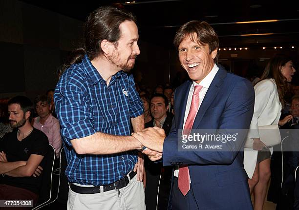 Spanish bullfigther Manuel Diaz 'El Cordobes' and Party Podemos leader Pablo Iglesias attend the 'Naranja y Limon' awards 2015 at the Sheraton Hotel...