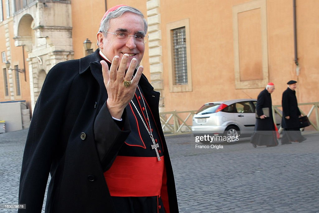 Spanish cardinal Lluis Martinez Sistach arrives at the Paul VI hall for the opening of the Cardinals' Congregations on March 4, 2013 in Vatican City, Vatican. The congregations of cardinals will continue until all cardinal electors have arrived in Rome, whereupon the College will decide on the start-date of the Conclave to elect a new Pope.