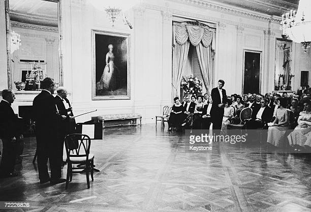 Spanish cellist Pablo Casals gives a recital for American president John F Kennedy and Jackie Kennedy at the White House 24th November 1961