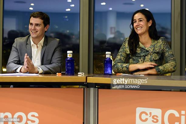 Spanish centreright party Ciudadanos leader Albert Rivera and Institucionales Ciudadanos head of institutional relations Begona Villacis smile during...