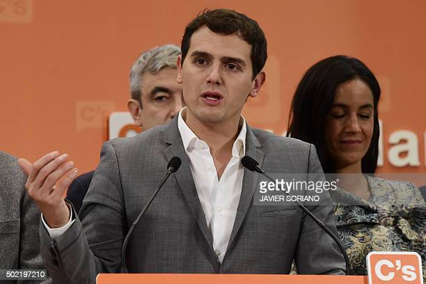 Spanish centreright party Ciudadanos leader Albert Rivera speaks beside head of institutional relations Begona Villacis during a press conference...