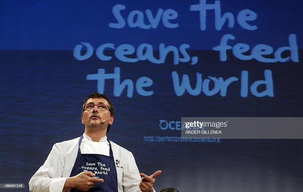 Spanish chef Andoni Luis Aduriz speaks during a conference to support Oceana's worldwide campaign 'Save the Oceans Feed the World' in the Basque...