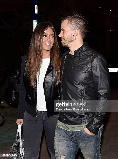 Spanish chef David Munoz and her wife the Tv presenter Cristina Pedroche are seen on October 29 2015 in Madrid Spain
