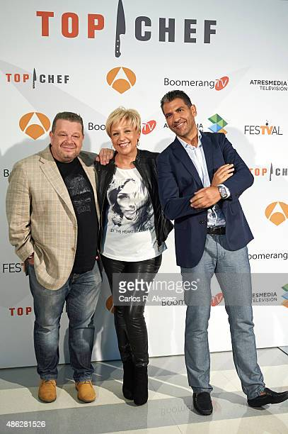 Spanish chefs Alberto Chicote Susi Diaz and Paco Roncero attend 'Top Chef' new season presentation during the 7th FesTVal Television Festival 2015 at...