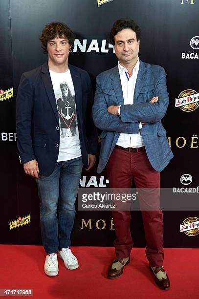 Spanish chefs Jordi Cruz and Pepe Rodriguez attend the 'Pacha El Arquitecto De La Noche' documentary premiere at the Capitol cinema on May 25 2015 in...