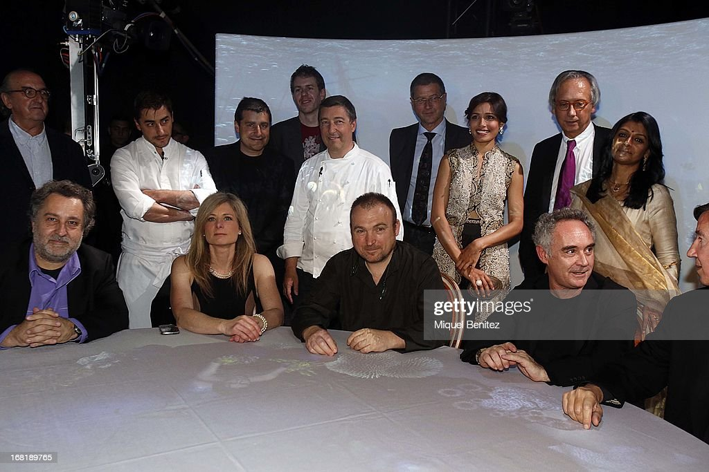 Spanish chefs of 'El Celler de Can Roca' Jordi Roca, Josep Roca <a gi-track='captionPersonalityLinkClicked' href=/galleries/search?phrase=Joan+Roca&family=editorial&specificpeople=4260705 ng-click='$event.stopPropagation()'>Joan Roca</a>, with <a gi-track='captionPersonalityLinkClicked' href=/galleries/search?phrase=Freida+Pinto&family=editorial&specificpeople=5518973 ng-click='$event.stopPropagation()'>Freida Pinto</a>, <a gi-track='captionPersonalityLinkClicked' href=/galleries/search?phrase=Nandita+Das&family=editorial&specificpeople=221731 ng-click='$event.stopPropagation()'>Nandita Das</a>, Harold McGee, Lisa Randall, <a gi-track='captionPersonalityLinkClicked' href=/galleries/search?phrase=Miquel+Barcelo&family=editorial&specificpeople=740509 ng-click='$event.stopPropagation()'>Miquel Barcelo</a> and Ferran Adria attend 'El Somni', 'The Dream' Gastronimic Opera Performance on May 6, 2013 in Barcelona, Spain.
