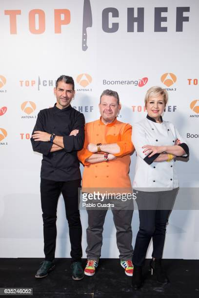 Spanish chefs Paco Roncero Alberto Chicote and Susi Diaz present the 'Top Chef' TV Show at Kitchen Club on February 14 2017 in Madrid Spain