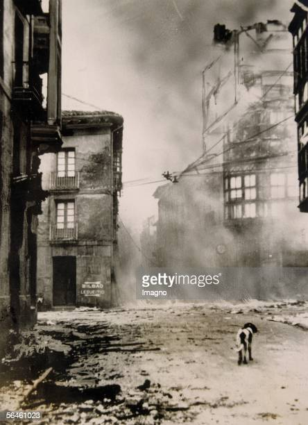 Spanish civil war Guernica Basque country bombed by the German legion Condor in the front a lonely dog Photography 1937 [Spanischer Buergerkrieg Das...